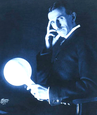 Nikola Tesla Papers, Wireless Power Transmission, circa 1900. Image: Wikipedia.