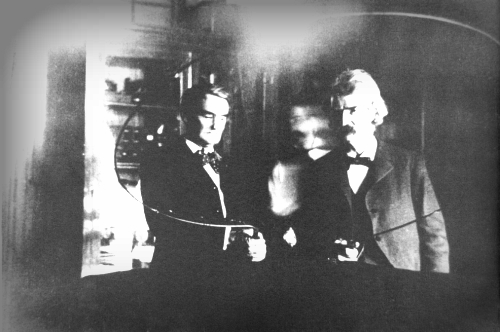 Victorian Selfies: Mark Twain, Joseph Jefferson, Nikola Tesla Lab, 1894. Image: TeslaSociety.com.