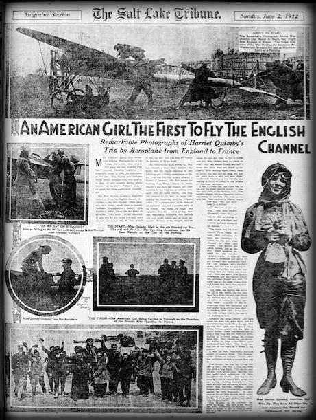 Harriet Quimby Crosses English Channel, Salt Lake Tribune.