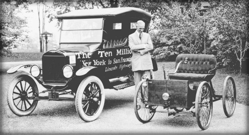 Henry Ford Quadracycle and 10 millionth Ford vehicle, Model T. Image: Library of Congress.