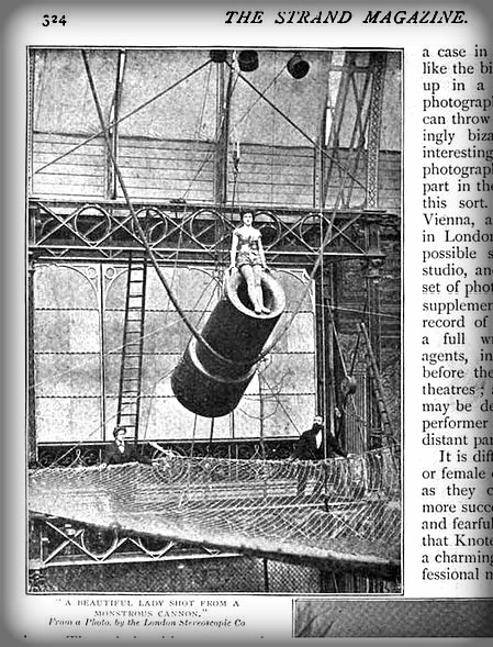 Zazel The Human Cannonball, 1897. Image: The Strand Magazine-Wikipedia.