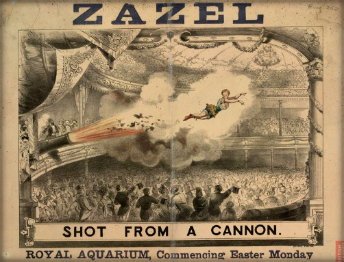 Zazel The Human Cannonball, 1887. Image: Wikipedia.