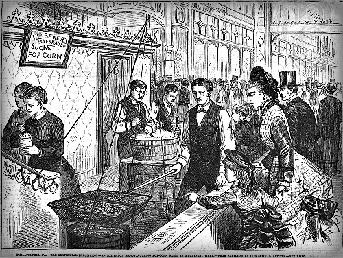 Centennial Exposition 1876, Popcorn Stall. Image: Philadelphia Free Library.
