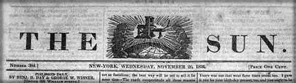 Great Moon Hoax, New York Sun, 1834. Image: Wikipedia.