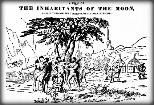 Moon Inhabitants, Hanes y Lleuad, 1836, Welsh Edition. Image Wikipedia.