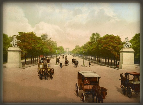 Victorian Era Photochrom Postcards: Ave. des Champs Elysees: Library of Congress.