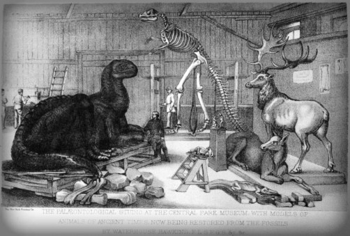 Central Park Dinosaurs; Paleozoic Museum, 1870s. Image: Wikipedia.