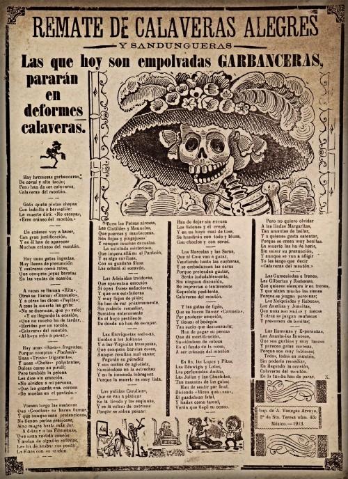 Catrina Skull; Jose Guadalupe Posada, Calavera Catrina (Dapper Skeleton), 1913. Image: Wikipedia.