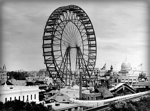 Ferris-wheel, World's Columbian Exposition, 1893. Image: Wikipedia.