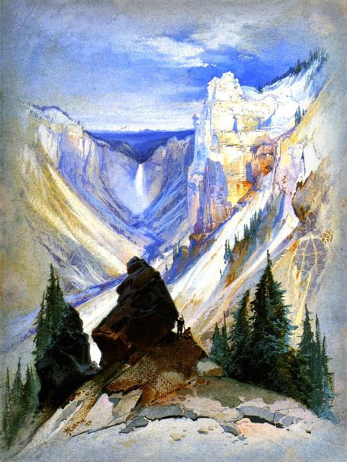 Thomas Moran Yellowstone Paintings: Grand Canyon of Yellowstone, 1872. Image: Public Domain.