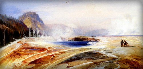 Thomas Moran Yellowstone Paintings: Big Springs Yellowstone Park, 1872. Image: Public Domain.