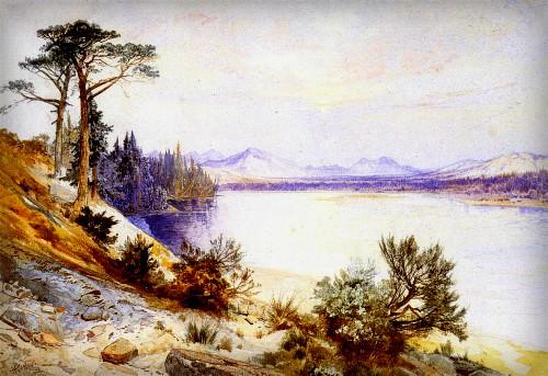 Thomas Moran Yellowstone Paintings: Head Yellowstone River, 1874. Image: Public Domain.