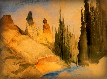 Thomas Moran Yellowstone Paintings: Tower Creek, 1871. Image: Wikipedia.