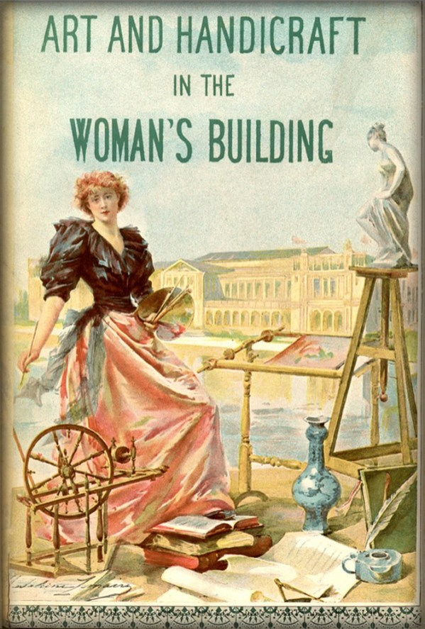 Poster of woman in 1890s dress at Woman's Building Lemaire. Image: Wikipedia.