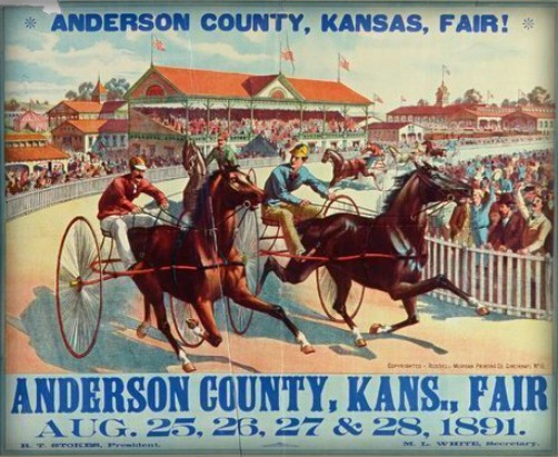 Anderson County Fair poster with two horses and jockeys in carts racing on track, 1891. Image: Public Domain.