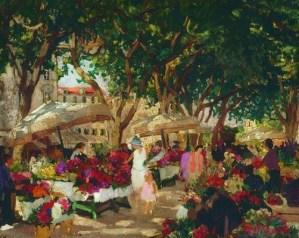 Ethel Carrick Fox, Flower Market Nice, 1926. Image: artnet.com