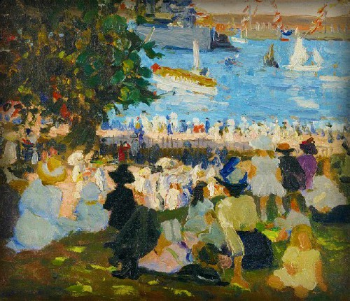 Ethel Carrick Fox, Watching the Fleet from the Domain, 1913. Image: art.base.com.