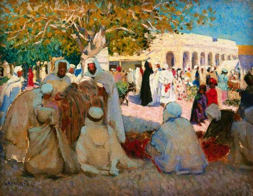 Ethel Carrick Fox, Arabs Bargaining, 1911. Image: artnet.com.
