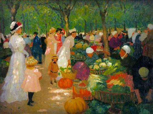 Ethel Carrick Fox, Market Under Trees 1919. Image: artnet.com.