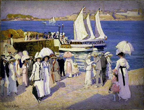 Ethel Carrick Fox, The Quay-at Dinard, 1911. Image: artnet.com.