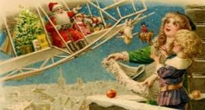 Victorian Santa Flies Biplane. Image: Public Domain.