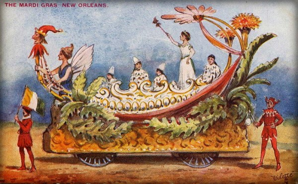 Victorian Era Mardi Gras, Float Card Oilette. Image: Wikimedia.