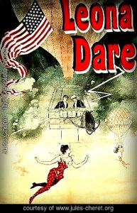 Poster, 1890. Dare dangles from hot air balloon.Image: Jules-Cheret.org.