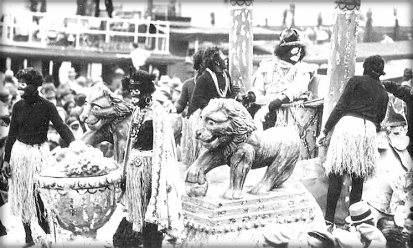 Nineteenth-Century Mardi Gras Rebels: Zulu King On Tug Boat New Basin Canal. Image: Wikimedia, .1936.