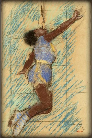 Miss LaLa At Circus Fernando Study by Edgar Degas, 1879. Image: Wikimedia.