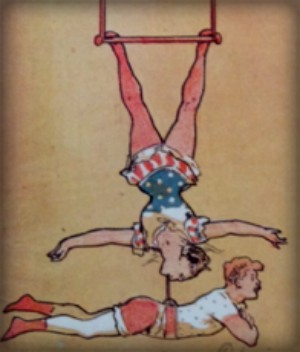 Poster drawing of Leona Dare in one piece hanging from trapeze by her feet as she supports a man with her jawFolies-Bergere. Image: gallica.bnf.fr.