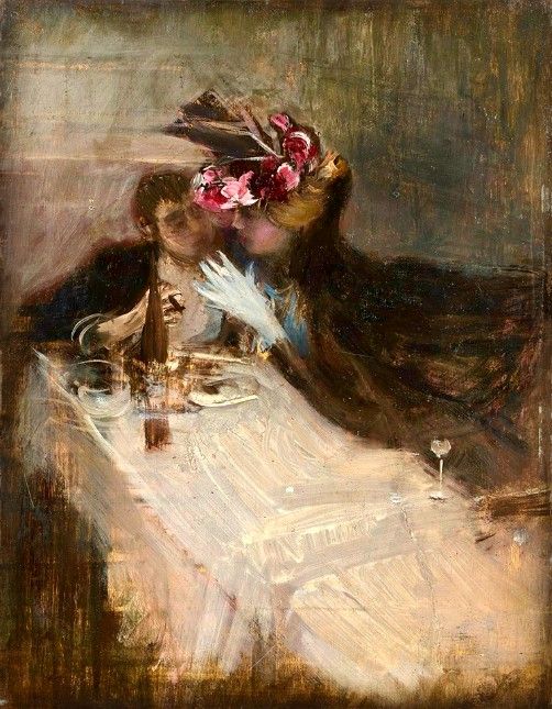 Couple in Restaurant by Giovanni Boldini, Date Unknown. Image: Wikimedia.
