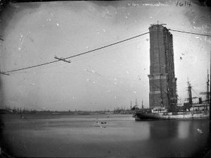 First Female Field Engineer, Emily Warren Roebling: Brooklyn Bridge Under Construction, 1878. Image: Wikipedia.