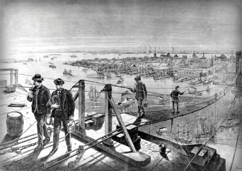 Footbridge During Brooklyn Bridge Construction. Image: National Archive.