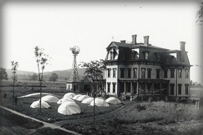 Victorian Mansion With Hot Air Balloons on Ground, Balloon Farm 1892.