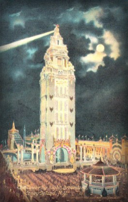 Coney Island Dreamland: Tower at Night. Image:W Library of Congress.