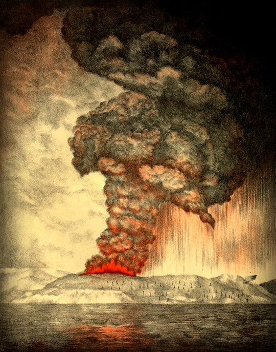 Victorian Era Krakatoa Eruption: Lithograph 1888 for Report of the Krakatoa Committee of the Royal Society. Image: Wikipedia.