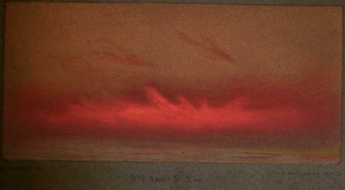 Brilliant red afterglow of sunset from London at 5:15 p.m. November 26, 1883- months after Krakatoa eruption.
