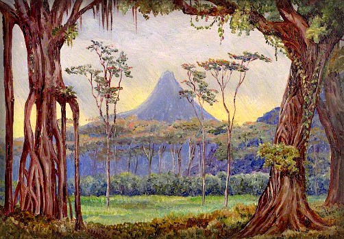 Krakatau Volcano Java by Marianne North, 1876. Image: The Public Catalogue Foundation, Royal Botanic Gardens Kew.