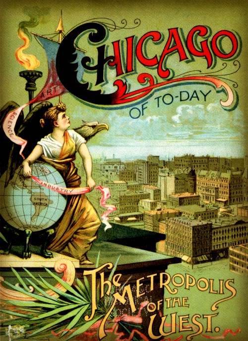 Poster of Chicago World's Fair 1893 with robed female on left side.