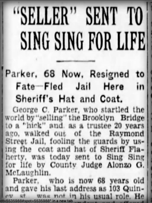 Con Artist George Parker, News Clip, Sing Sing For Life. Image: NY Times 23. Nov. 1928.