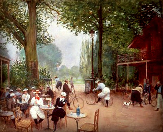 The Break of the Cyclists in the Bois de Boulogne by Jean Beraud, c. 1900. Image: Wikipedia.