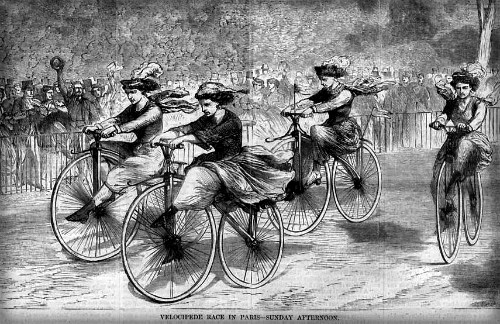First Female Velocipede Racers, Harper's Weekly, A Journal of Civilization, December 1868. Image: Holdbike.eu.