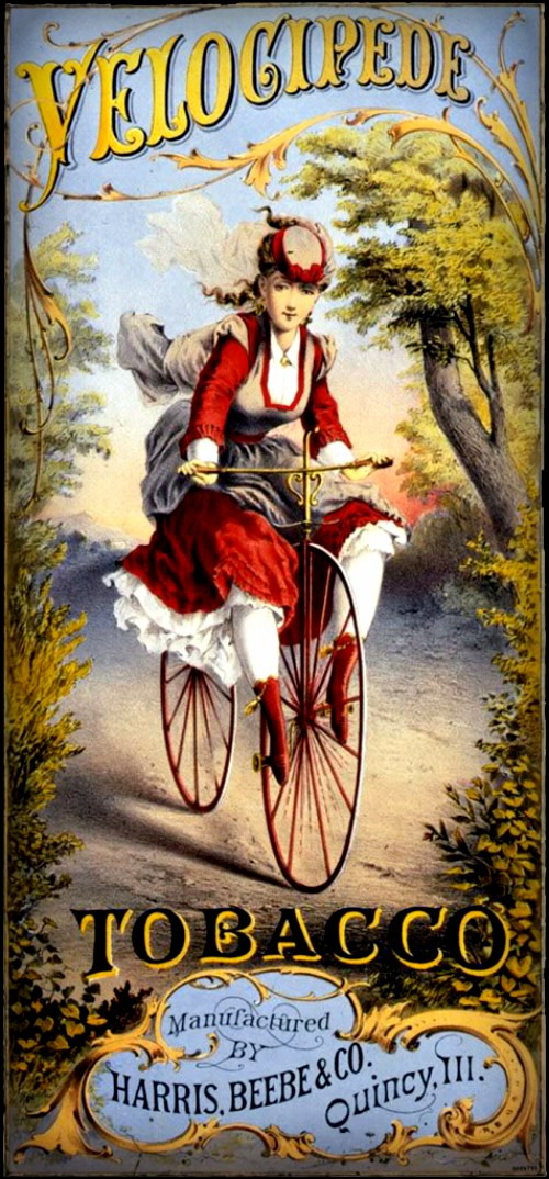 Velocipedes Tobacco Advertising Poster. Image: oldbike.eu.