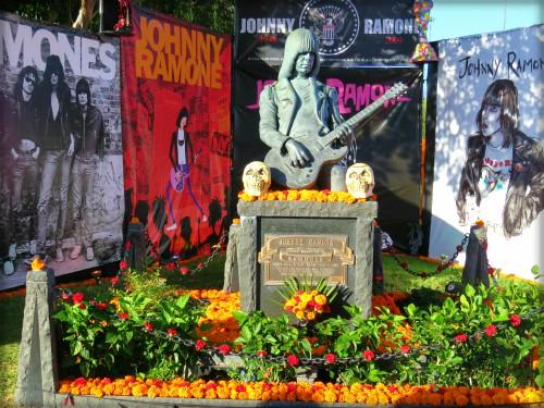 Hollywood Cemetery Marigolds; Day of the Dead Altar to Johnny Ramone. Image: BarbaraRoseMedia.com.