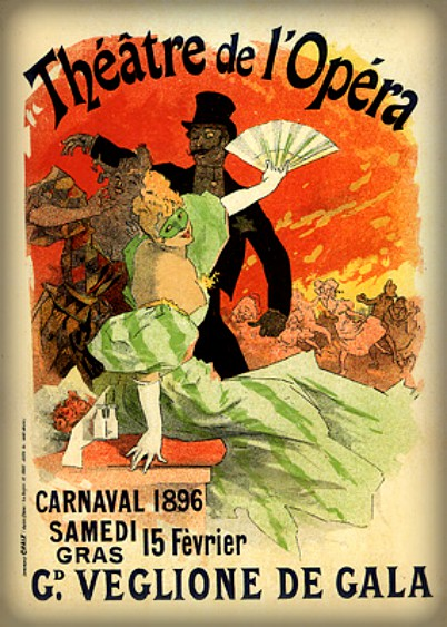 Jules Chéret Style; Carnaval, 1896-Grand Veglione de Gala, a l´Opera. Image: Wikipedia.