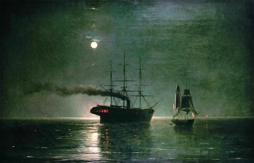 Painting Ship At Night by Ivan Constantinovich Aivazovsky - 1888.