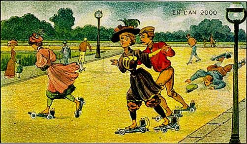 postcard illustration of victorian couple on electric skates