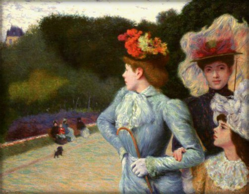 1890 impressionist painting of two women and a girl in feathered Victorian hats at a park by Federico Zandomeneghi
