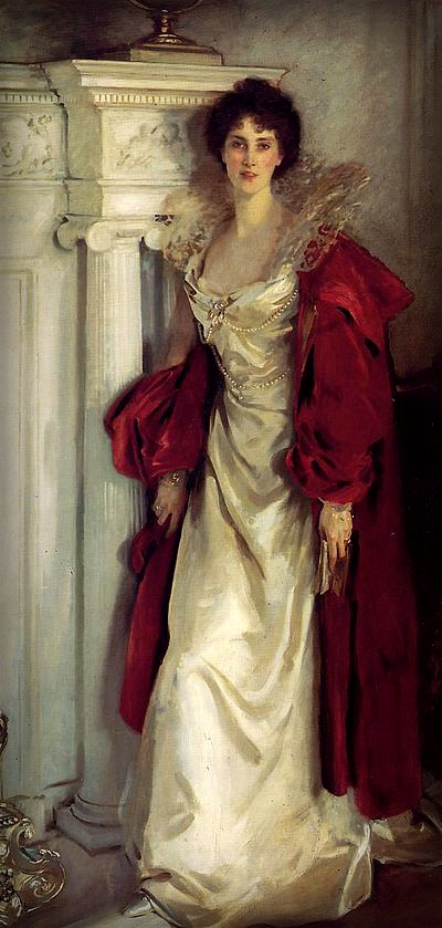 portrait of full body of Winifred Duchess of Portland in white satin gown with crimson cape