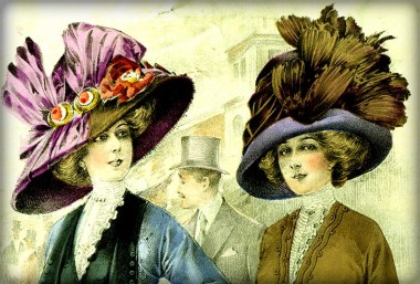 colored illustration of two Edwardian woman in giant sized round hat with twelve-inch wide hats--one with feathers and one with satin bow